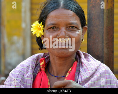 Closeup street portrait (outdoor headshot, full-face view) of a mature Indian Adivasi woman with three golden tribal - Stock Photo