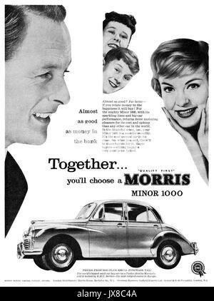 1959 British advertisement for the Morris Minor 1000. - Stock Photo