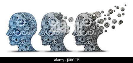 Alzheimer dementia brain disease as a memory loss and mental transforming neurology or mind mental health concept - Stock Photo