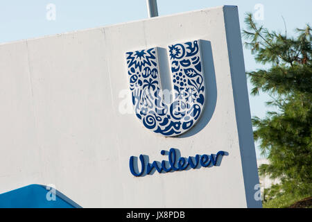 A logo sign outside of a facility occupied by Unilever in Newville, Pennsylvania on July 30, 2017. - Stock Photo