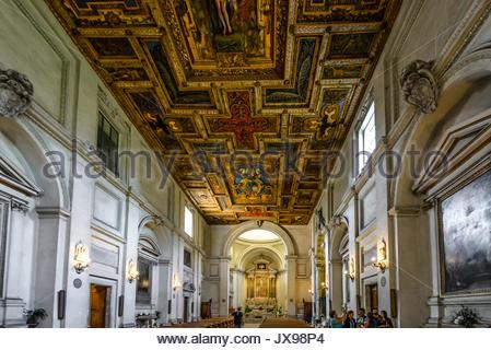 Interior of Saint Sebastian Church at the Catacombs of San Sebastiano in Rome Italy - Stock Photo