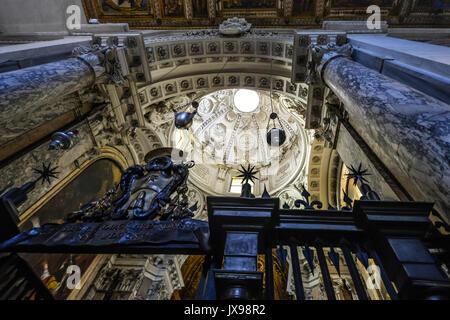 Interior of Saint Sebastian Church at the Catacombs of San Sebastiano - Stock Photo