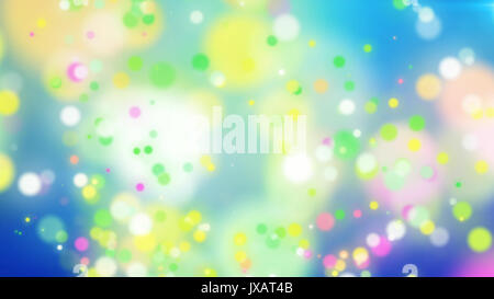 Exciting 3d rendering of colorful particles on a light blue background with splashing white places. The drawing - Stock Photo
