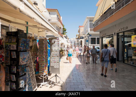 Lithostroto Street Shopping in Argostoli, Kefalonia, Greece - Stock Photo