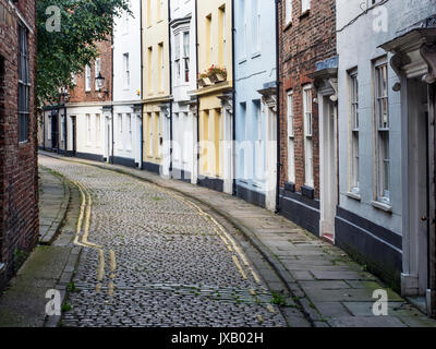 Colourful Houses along Prince Street in the Old Town at Hull Yorkshire England - Stock Photo