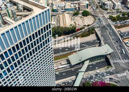 View of urban roads, freeways and modern building in Tel Aviv, Israel. - Stock Photo