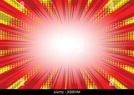 Vector retro comic red and yellow abstract background, half tone pop art style explosion effect design. - Stock Photo
