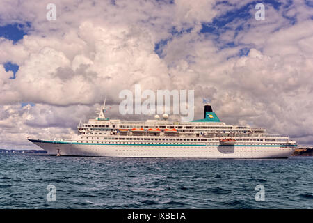 Cruise ship 'Albatros' anchored in the Carrick Roads, Falmouth, England, UK. - Stock Photo