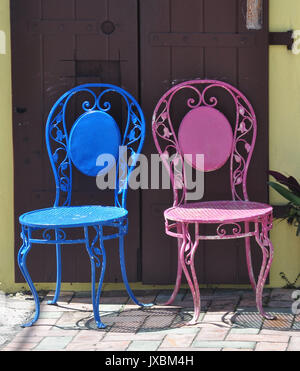 Pink and Blue Parlor Chairs - Stock Photo