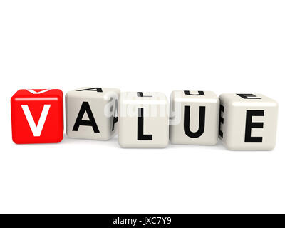 Block cube with value word, 3D rendering - Stock Photo