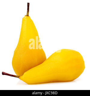 Front view of two pears poached in sugar and saffron syrup one vertical and one horizontal isolated on white - Stock Photo
