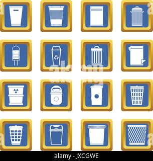 Trash can icons set blue - Stock Photo