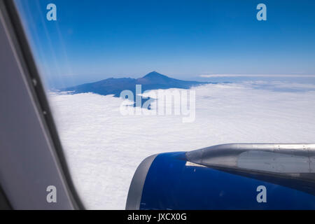 View to mount Teide on Tenerife from an Airbus A320 flight - Stock Photo