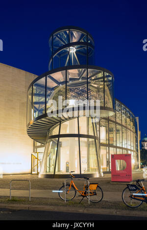 Night view of IM Pei's modern extension to the German History Museum ( Deutsches Historisches Museum) in Berlin, - Stock Photo