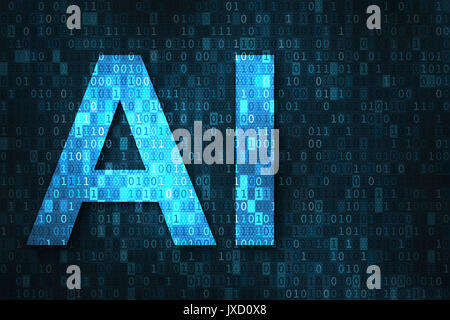 Artificial intelligence illustration with blue text AI over binary code matrix background. Abstract concept of cyber - Stock Photo