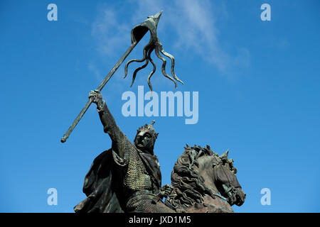 Falaise, Calvados, Normady, France. Birth place of William the Conqueror seen here in Statue form. August 2017 Statue - Stock Photo