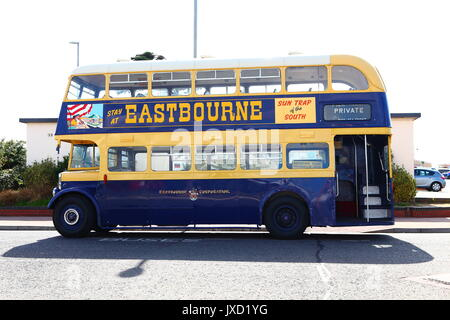 Preserved Eastbourne Corporation AEC Regent double-deck bus AHC 442 seen on a visit to Southsea.