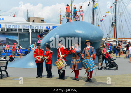 Halifax, Nova Scotia, Canada - July 29, 2017: Actors in period costumes reenact colonial times during the Tall Ships - Stock Photo