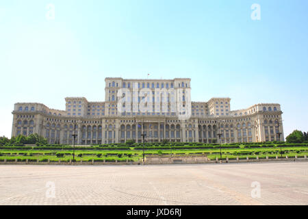 Parliament Palace (also known as The People's House, built during reign of Ceausescu), Bucharest, Romania. The Palace - Stock Photo