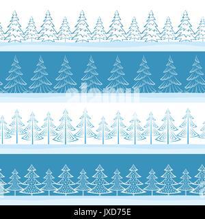 Christmas Trees, Seamless - Stock Photo
