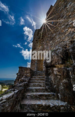 View of Asklepios castle on a beautiful, sunny day, that was built by the Knights of St John, Rhodes island, Greece - Stock Photo