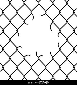 Mesh netting Torn. Rabitz  with hole. Mesh fence Ripped background - Stock Photo