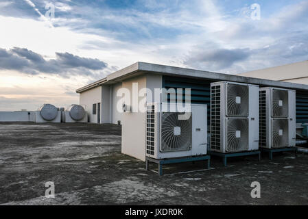 Air conditioning systems on a rooftop - Stock Photo