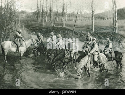French cavalry watering horses, WW1 - Stock Photo