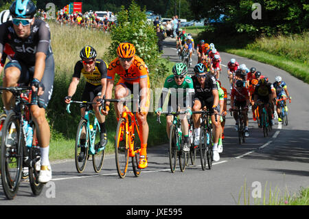 Prudential Ride London Surrey Classic Cycle Race  30th July 2017  Ranmore Common Road  Surrey Hills  UK - Stock Photo