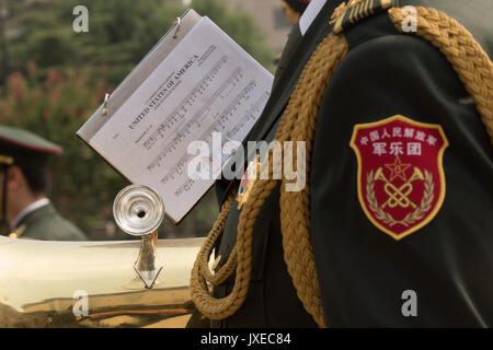 Beijing, China. 15th Aug, 2017. Chinese People's Liberation Army honor guard band with a copy of the music for the - Stock Photo