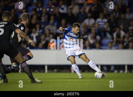 Reading, UK. 15th Aug, 2017. Adrian Popa of Reading scores a goal via a deflection to make it 1 0 during the Sky - Stock Photo
