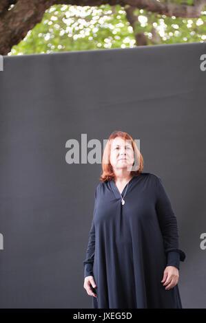 Edinburgh, UK. 16th Aug, 2017. Linda Grant novelist and journalist appearing at the Edinburgh International Book - Stock Photo