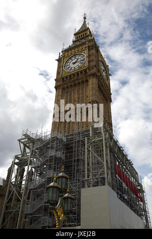 London, UK. 16th Aug, 2017. Scaffolding is erected around Big Ben in Parliament square as restoration work is due - Stock Photo