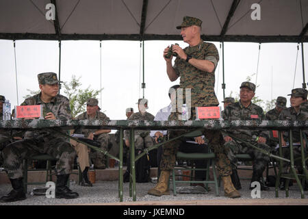 Haichung, China. 16th Aug, 2017. U.S. Chairman of the Joint Chiefs Gen. Joseph Dunford, left, observes an attack - Stock Photo