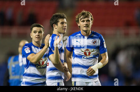 Reading, UK. 15th Aug, 2017. (l-r) Liam Kelly, Pelle Clement & John Swift of Reading at full time during the Sky - Stock Photo
