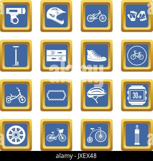 Biking icons set blue - Stock Photo