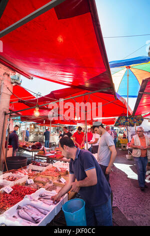 Fishmongers stall at the Ballaro Market in the Albergheria district of central Palermo, Sicily, Italy. - Stock Photo