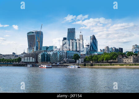 London, UK 21st May 2017. City of London financial district seen across Thames, from Tower Bridge. - Stock Photo