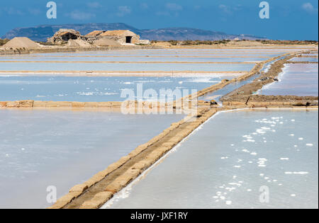 Saltpans with salt being produced by evaporation of seawater Culcasi, south of  Trapani, on the west coast of Sicily, - Stock Photo