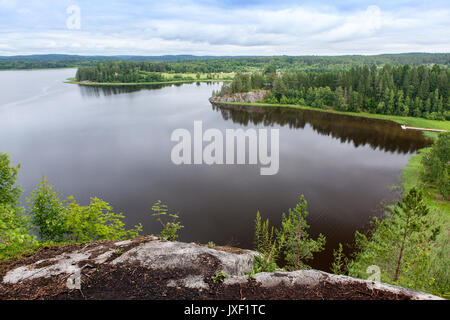 Lake Ladoga Skerries Karelia Russia Blue Sky Pella Boats Autumn - Stock Photo