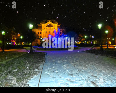 Singing fountain on Main street in Kosice, Slovakia - Stock Photo