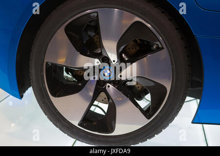 Frankfurt, Germany - June 15, 2016: The wheel of BMW Concept car i8 shown at the Internationale Airport - Stock Photo
