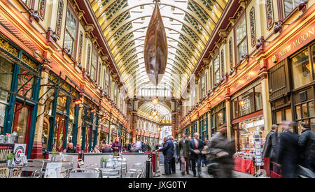 Leadenhall Market is a covered market in London, located on Gracechurch Street - Stock Photo