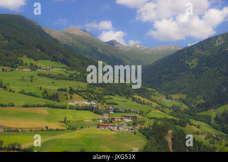 Beautiful Austrian landscape photographed from a car - Stock Photo