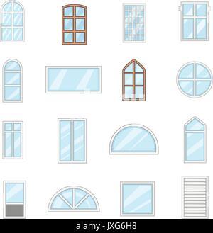 Window design types icons set, cartoon style - Stock Photo