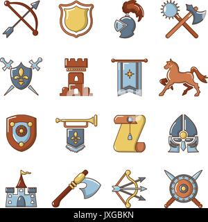 Knight medieval icons set, cartoon style - Stock Photo