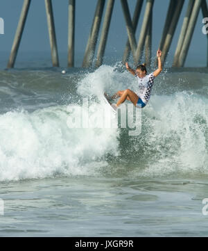 Pro female surfer, Coco Ho, competing at the US Open of Surfing- Huntington Beach, California - Stock Photo