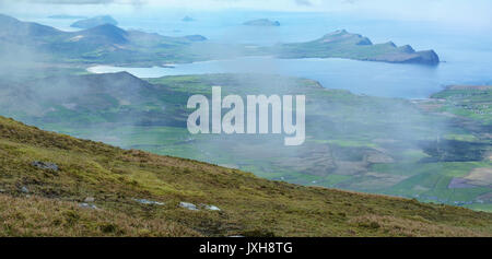 View of the Dingle Peninsula and the Blasket Islands from Mount Brandon in County Kerry, Ireland - Stock Photo