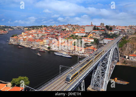 Porto skyline, Dom Luis I Bridge and Douro River in Portugal - Stock Photo