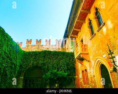 Verona, Italy - September 22, 2014: The famous balcony of Juliet - Stock Photo